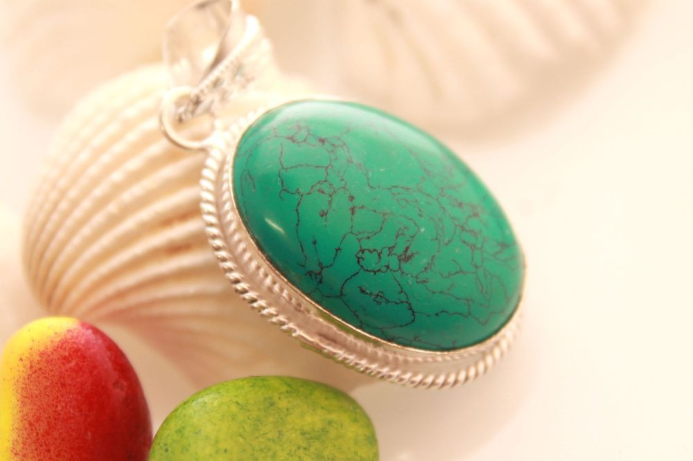 TURQUOISE TWISTED WIRE WHOLESALE FANCY RETRO 925 STERLING SILVER FASHION JEWELRY #925silverpalace #Pendant