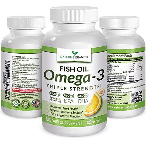 Best Triple Strength Omega 3 Fish Oil Supplements 2 500mg High Potency Lemon Flavor 860mg Epa 650mg Dha Burpless Fish Oil Pills Fish Oil Fish Oils Supplements