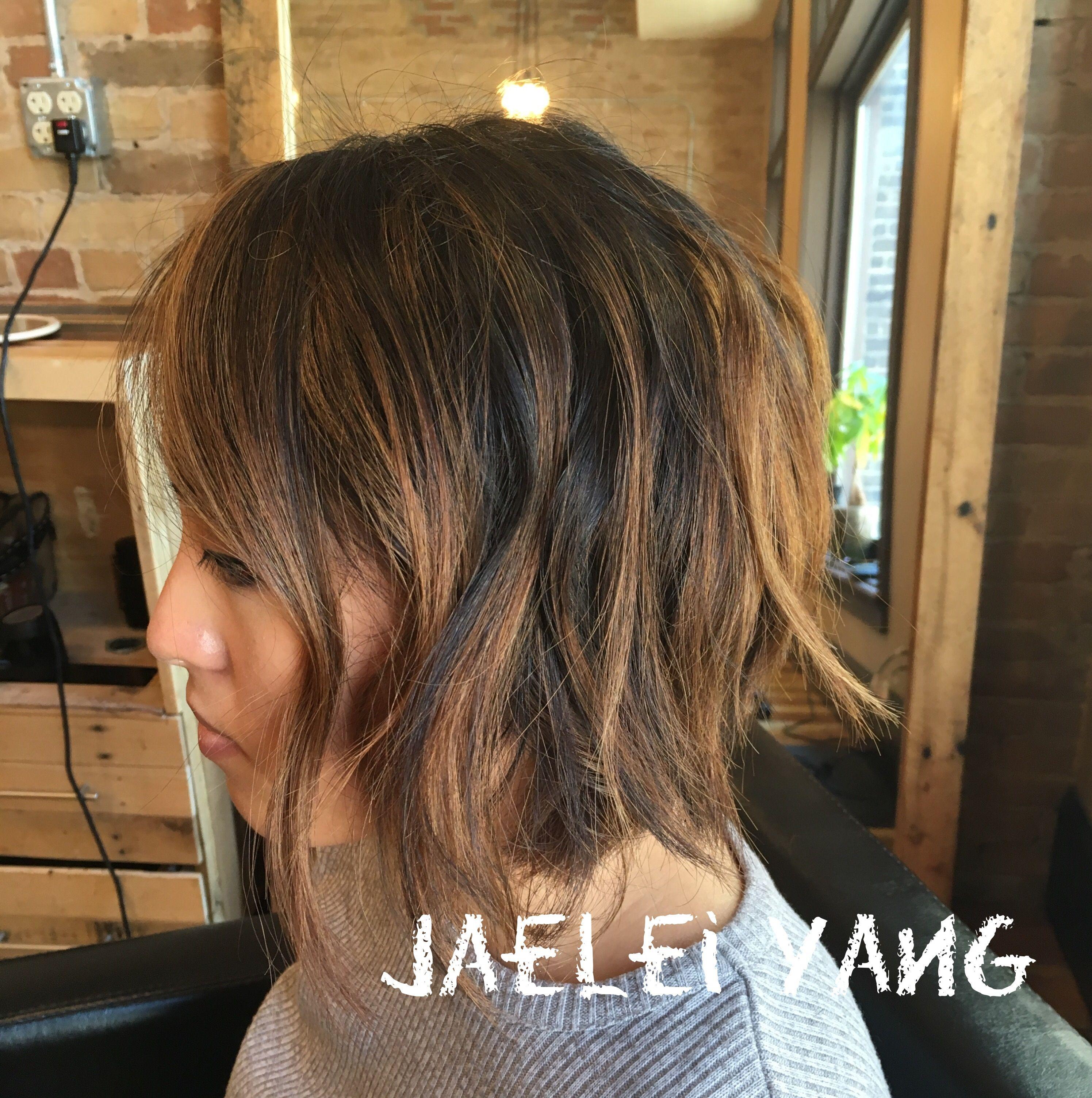 Dark Brunette Caramel Highlights Balayage On Bob Jaelei Does Hair