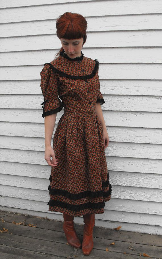 988a757007 Vintage Prairie Goth Dress S Gothic Victorian Floral by soulrust ...