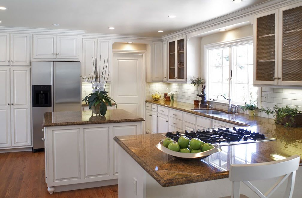 white kitchen cabinets with brown countertops | Since I'm ...