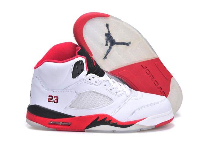 Nike Air Jordan 5 V Retro Homme Blanc Rouge - €73.45 : Chaussures Nike Air Max Pas Cher Solde | Nike Free Run | Nike Air Jordan - Livraison gratuits