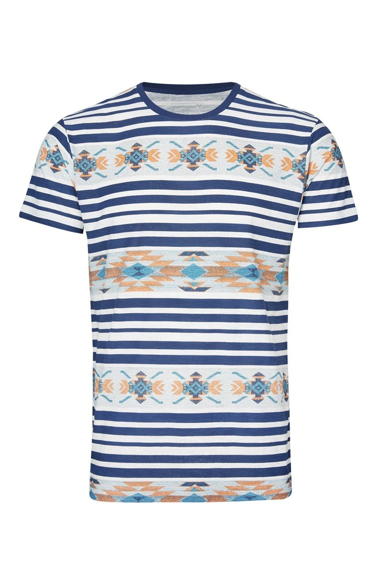 Blue Aztec Stripe T-Shirt