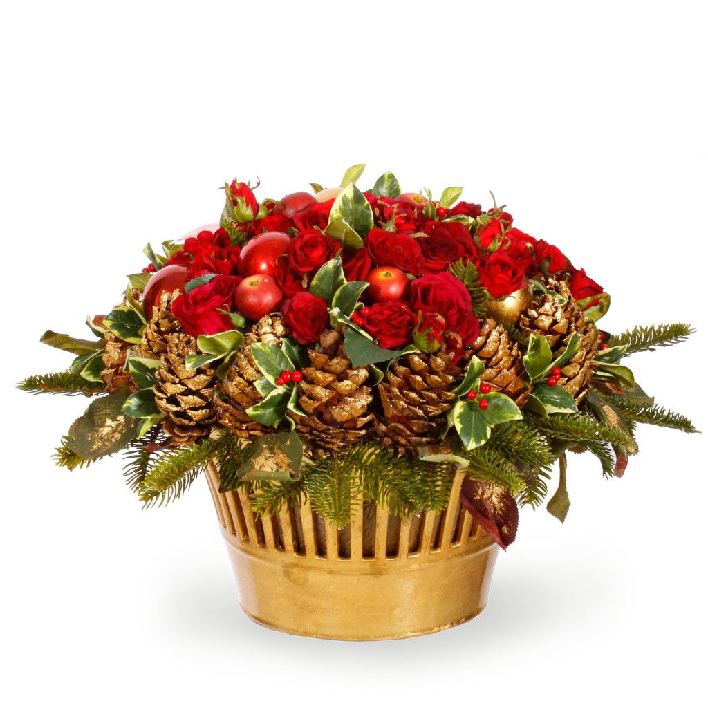"GLAMOROUS HOLIDAY CENTERPIECE 21"" wide – Winward Designs. An instant tablescape for your holiday dinner."