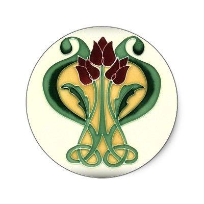 Art Nouveau Rose Tile
