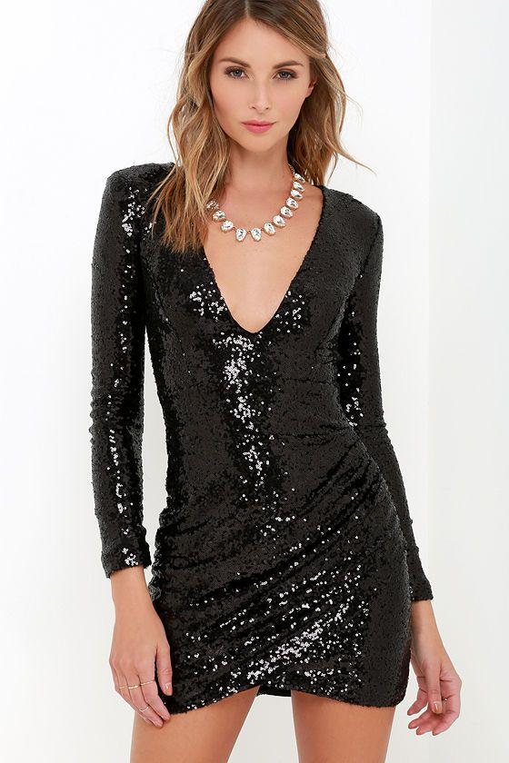 Vestido negro lentejuelas manga larga