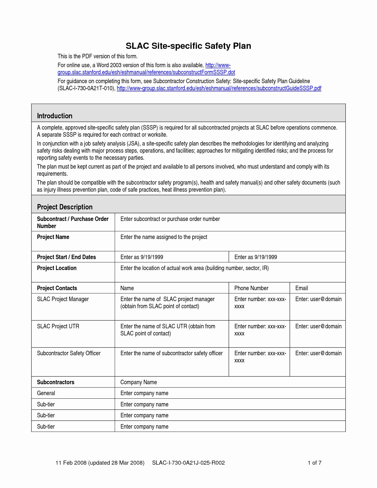 Construction Safety Plan Template Fresh Safety Plan Template In 2020 Construction Safety Treatment Plan Template How To Plan Site specific safety plans template