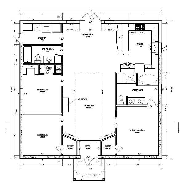 Square House Plans home plan homepw76711 1951 square foot 3 bedroom 2 bathroom colonial home with 0 garage bays square feet floor Small House Plans Should Maximize Space And Have Low Building Costs