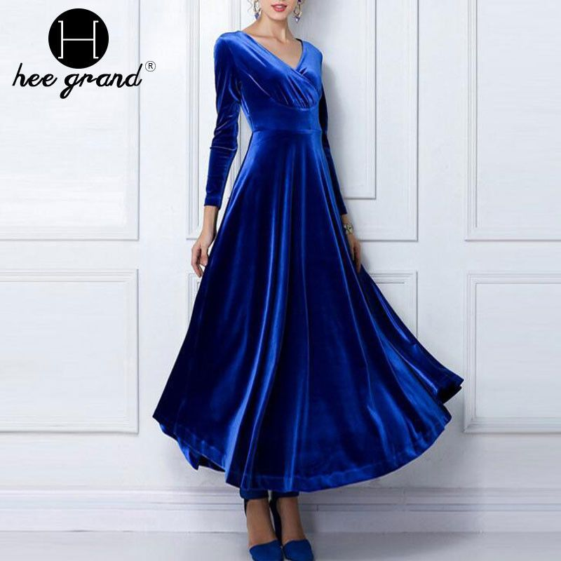 Autumn Winter Long Dress Women Sexy V-Neck Empire Draped Asymmetrical Full Sleeve