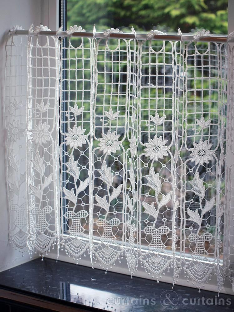 Sunflower Macrame White Cafe Net Panel 53x24 Inches