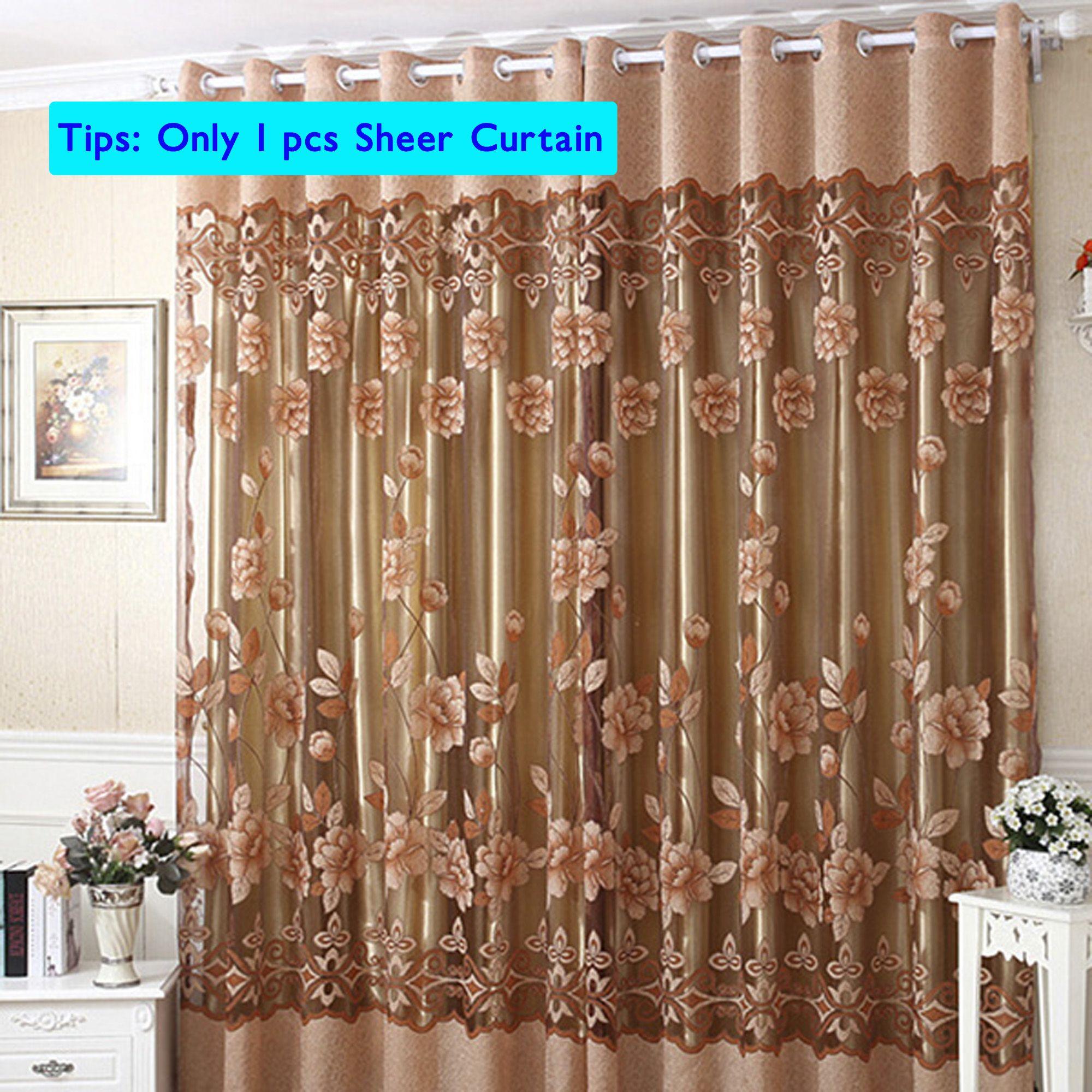 Nk Home Luxury Floral Tulle Door Window Curtain Drape Panel Sheer Scarf Valances Divider Room Decorative 1x2 5m Purple Pink Walmart Com Window Curtains Curtains Curtain For Door Window