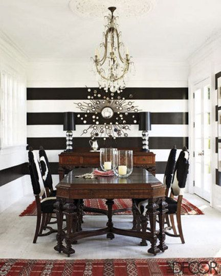 I M Obsessed With Black And White Stripes Love The Single Stripe Under Window On Adjoining Wall