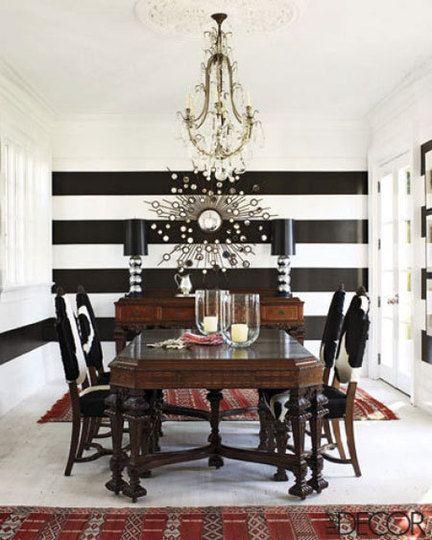 Black White Stripes Striped Walls Dining Room Makeover Home