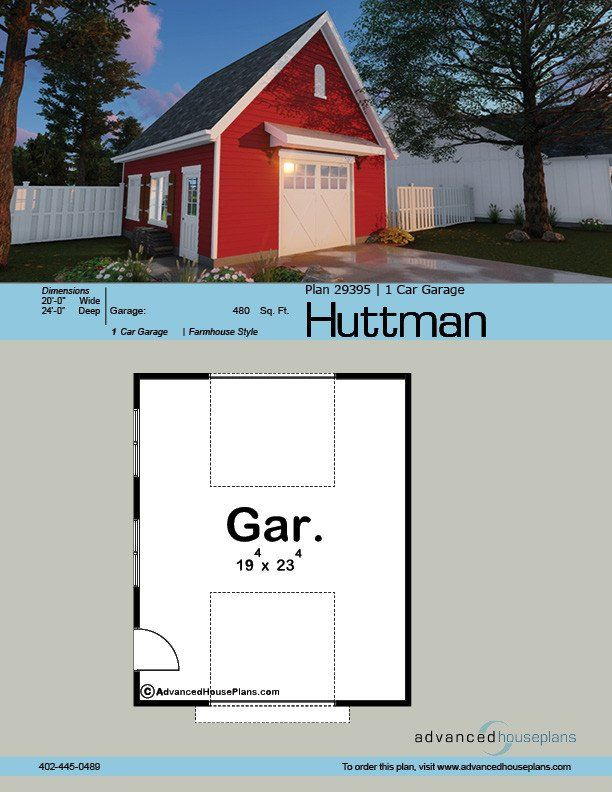 29373 Huttman Is A Detached Garage Plan With Two 9 39 X8 39 Garage Doors Set Up As A Drive Thru The Roof Is A Steep Garage Plan Detached Garage Attic Truss