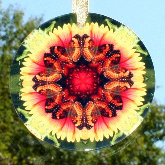 Butterfly Suncatcher Glass Sacred Geometry door melbecreations, $28.00