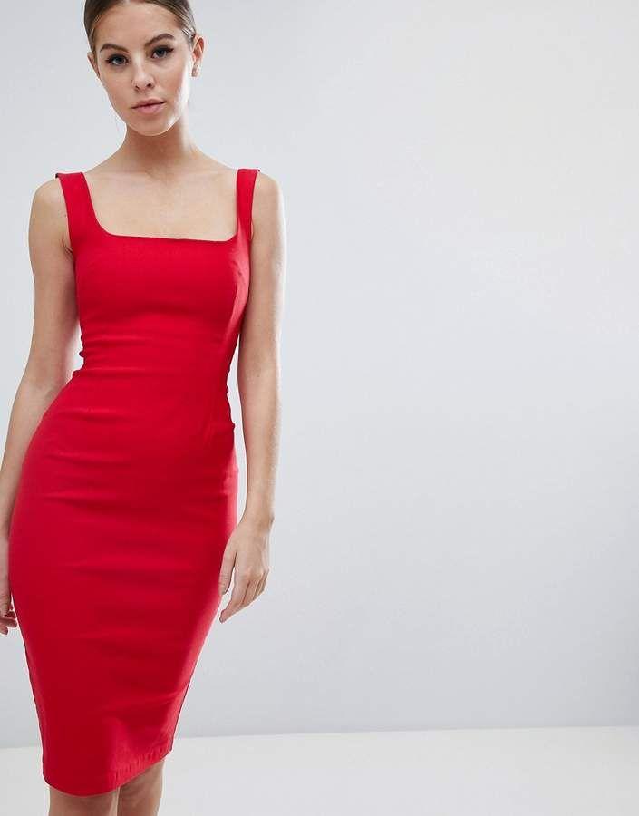 6e585ac8cff Vesper square neck pencil dress in red in 2019