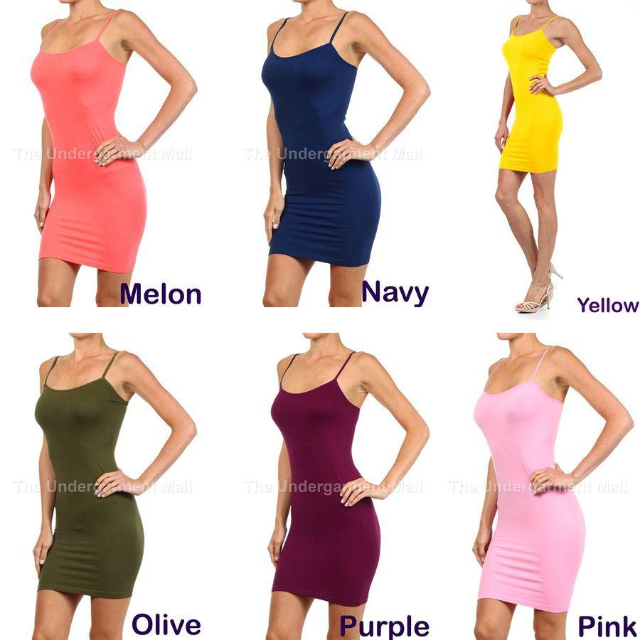 Womens Camisole Spaghetti Bodycon Long Tank Top Shirt New Mini Dress Size S M L Long Tank Tops Womens Camisoles Tank Top Shirt [ 900 x 900 Pixel ]