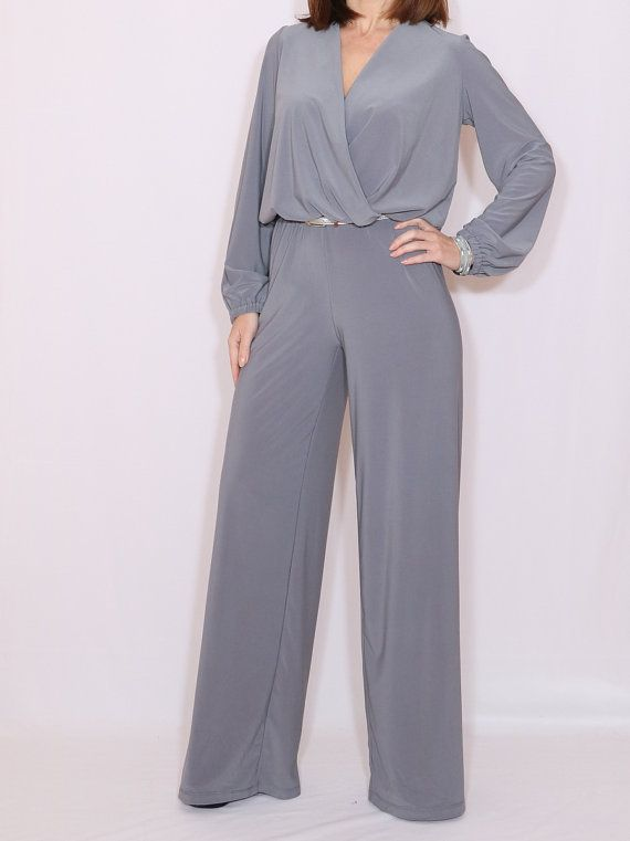 4db581b096ee Long sleeve jumpsuit wide leg jumpsuit Gray jumpsuit by dresslike ...