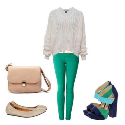calça verde + blusa tricot