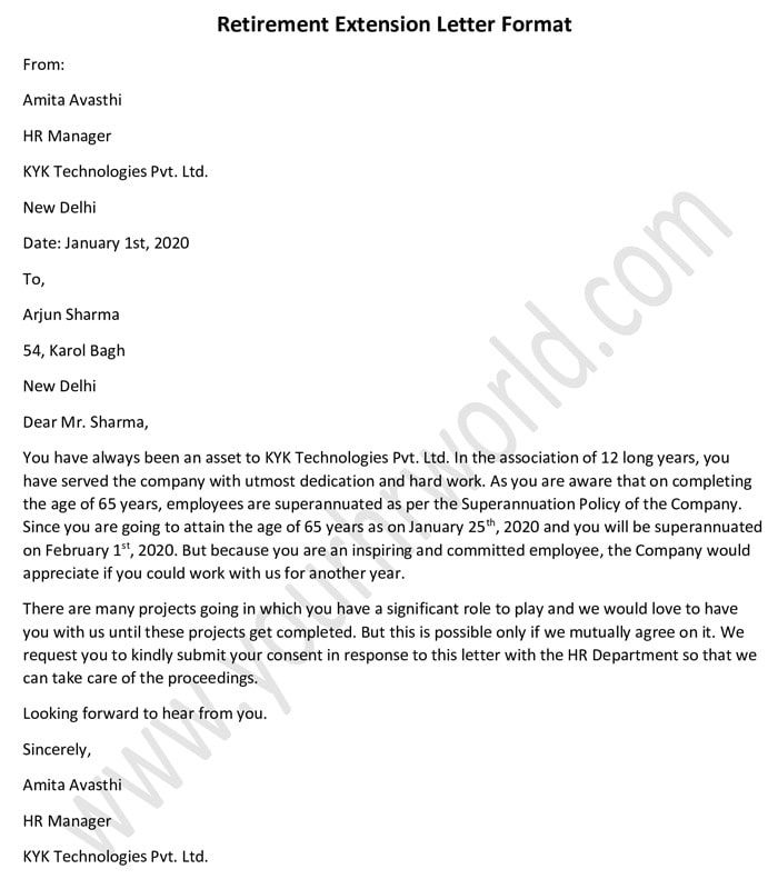 Retirement Extension Letter Format Extension Letter Sample Lettering Letter Sample Simple Resume Format