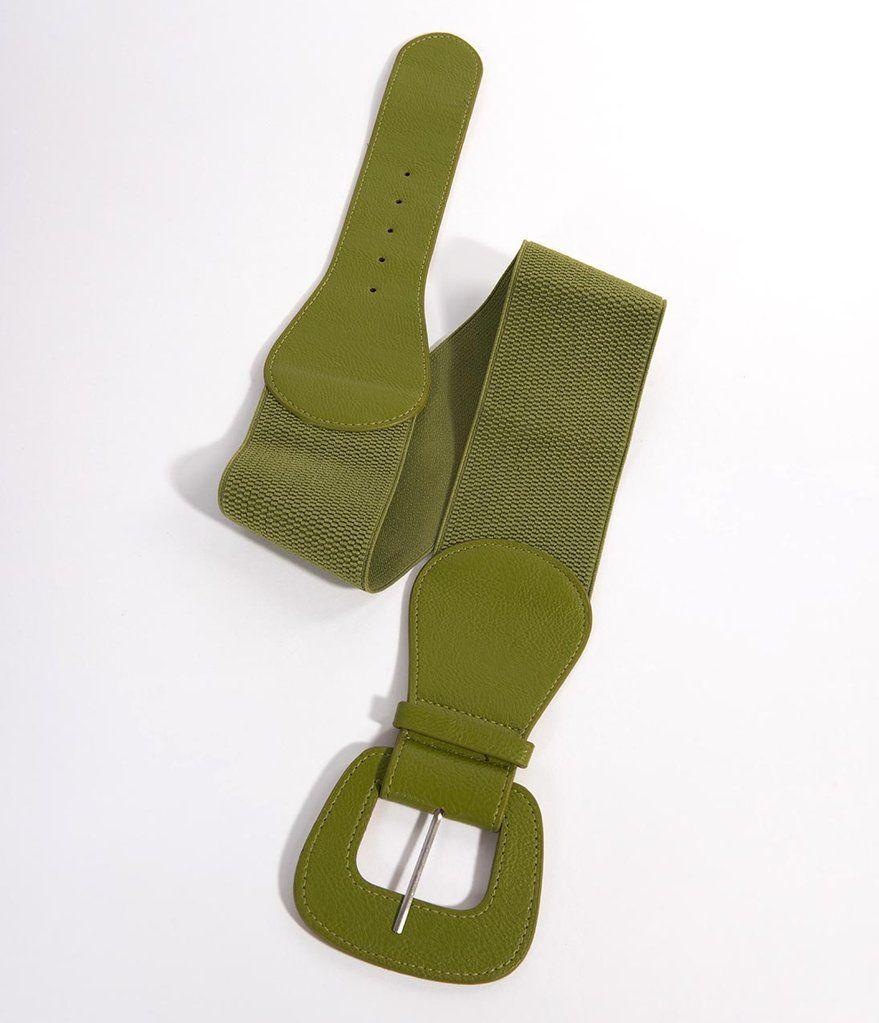 e9af4e9000fa7 Retro Style Green Leatherette Wide Elastic Cinch Belt--Unique Vintage