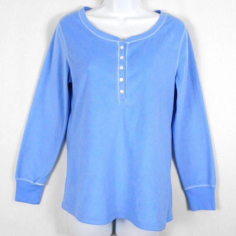 d02343ea611b3 Carole Hochman Womens Pajama Top Blue Sz M S Polyester Microfleece Long  Sleeve  CaroleHochman  Sleepshirt  Everyday
