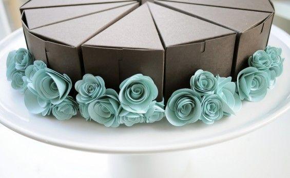 Paper Cakes Pastries Popping The Question Emmaline Bride Wedding Blog Wedding Cake Boxes Cake Slice Favor Box Cake Slice Favor