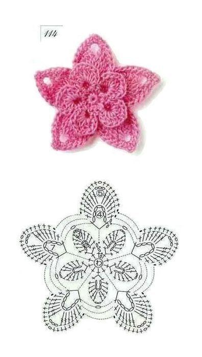diagramme fleur knitting and crochett Pinterest Crochet