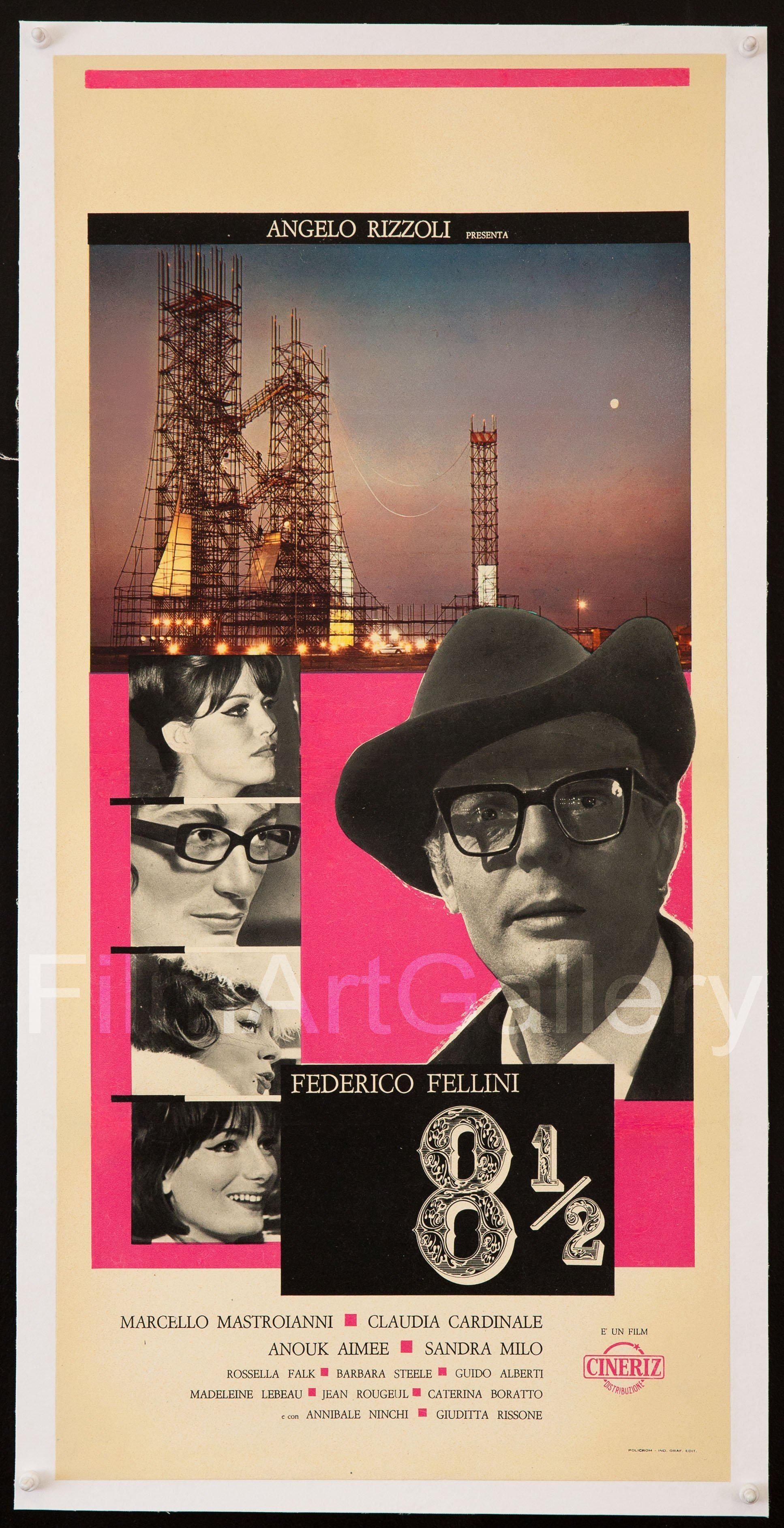 8 1 2 Eight And A Half Italian Locandina 13x28 Original Vintage Movie Poster Movie Posters Movie Posters Vintage Italian Movie Posters