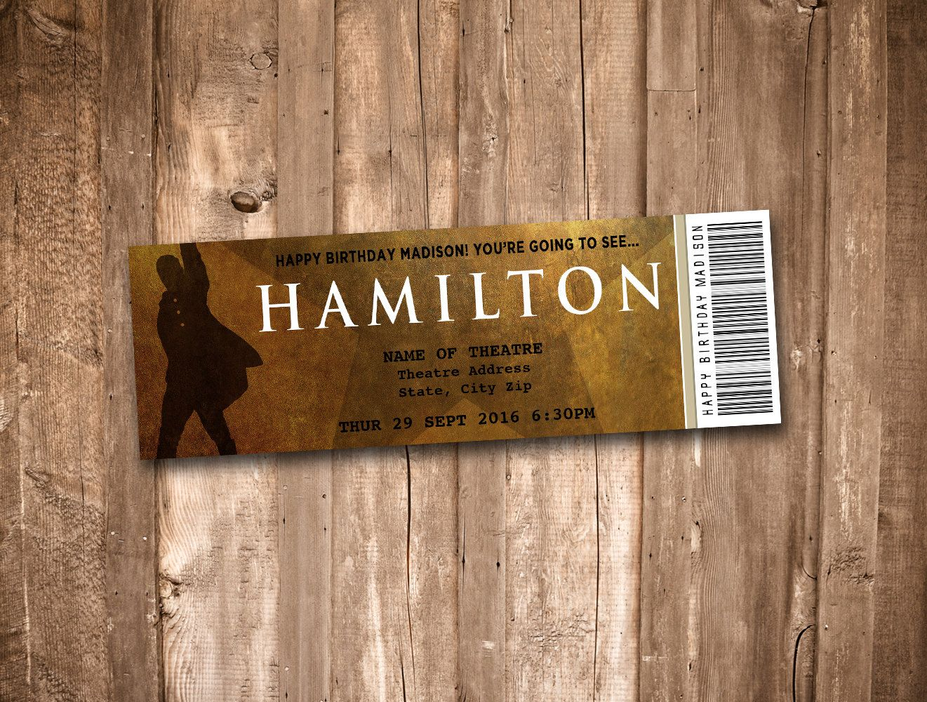 Collectible Theater Tickets Personalized Digital Printable