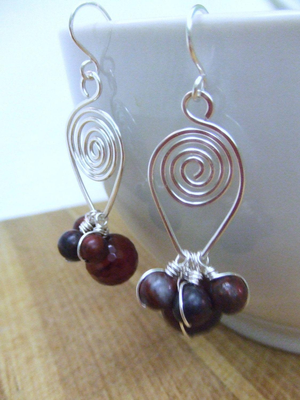 Modern Spiral Earrings Jasper Agate Silver Wire Wrap Earrings idea ...