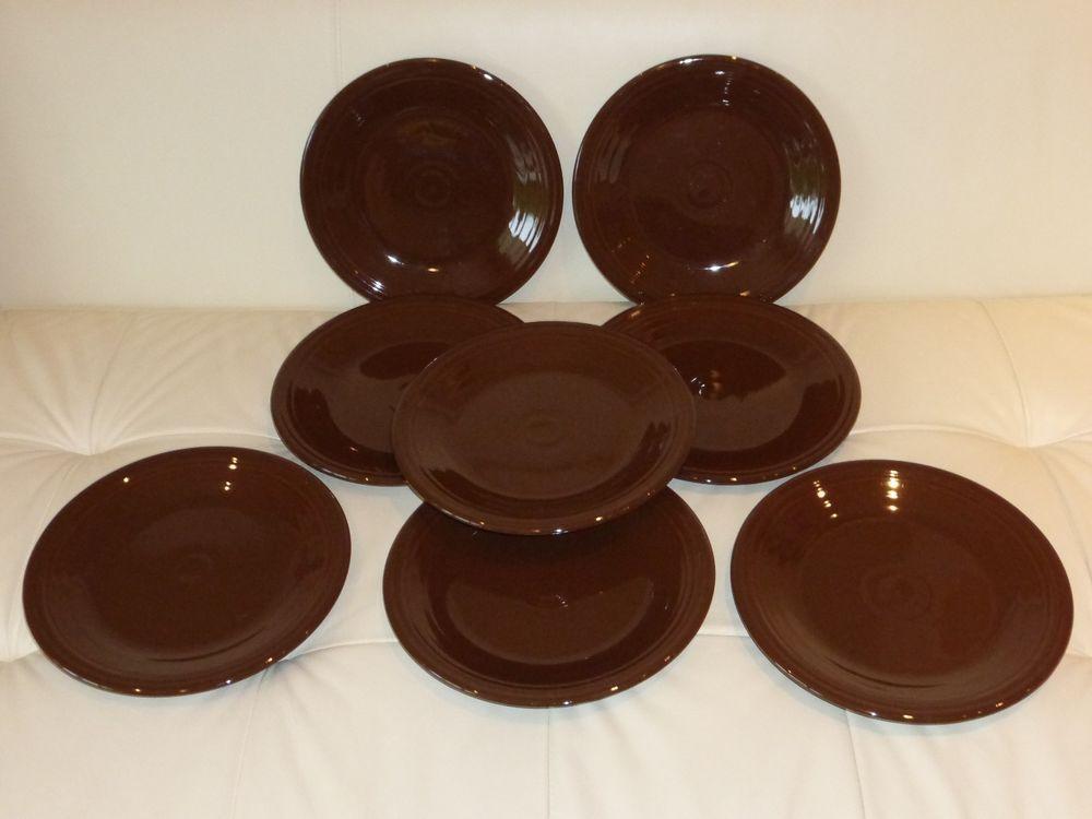 8 RETIRED CHOCOLATE BROWN FIESTA 10.5\  DINNER PLATES & 8 RETIRED CHOCOLATE BROWN FIESTA 10.5\
