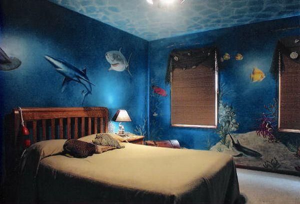 Shark mermaid room underwater wall murals bedroom design for Ariel bedroom ideas