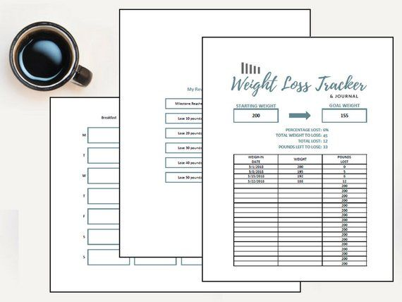 Weight Loss Tracker Diet Tracker Food Diary Goal Planner Food - expenses tracking spreadsheet
