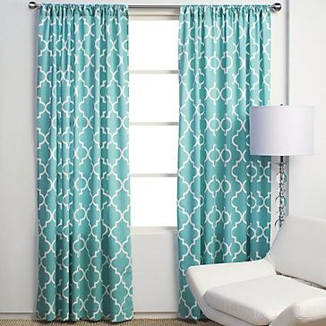 Turquoise Curtains Could Look Cool With Red Accent Wall