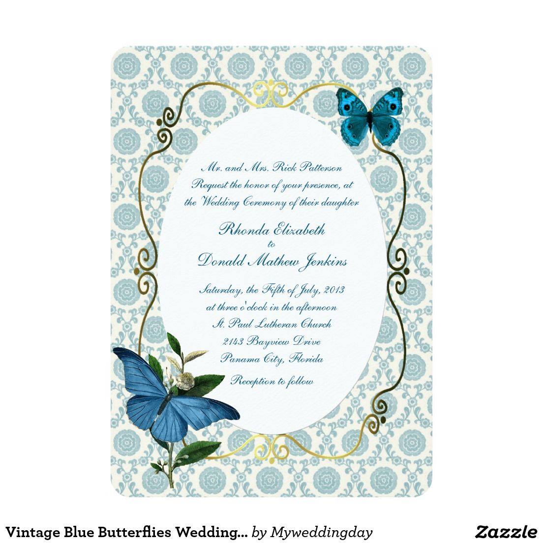 Vintage Blue Butterflies Wedding Invitation | Blue butterfly ...