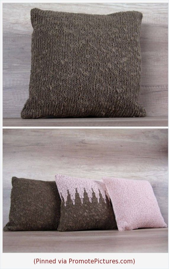 Marvelous Brown Hand Knitted Pillow Tobacco Throw Knit Cushion Cover Theyellowbook Wood Chair Design Ideas Theyellowbookinfo