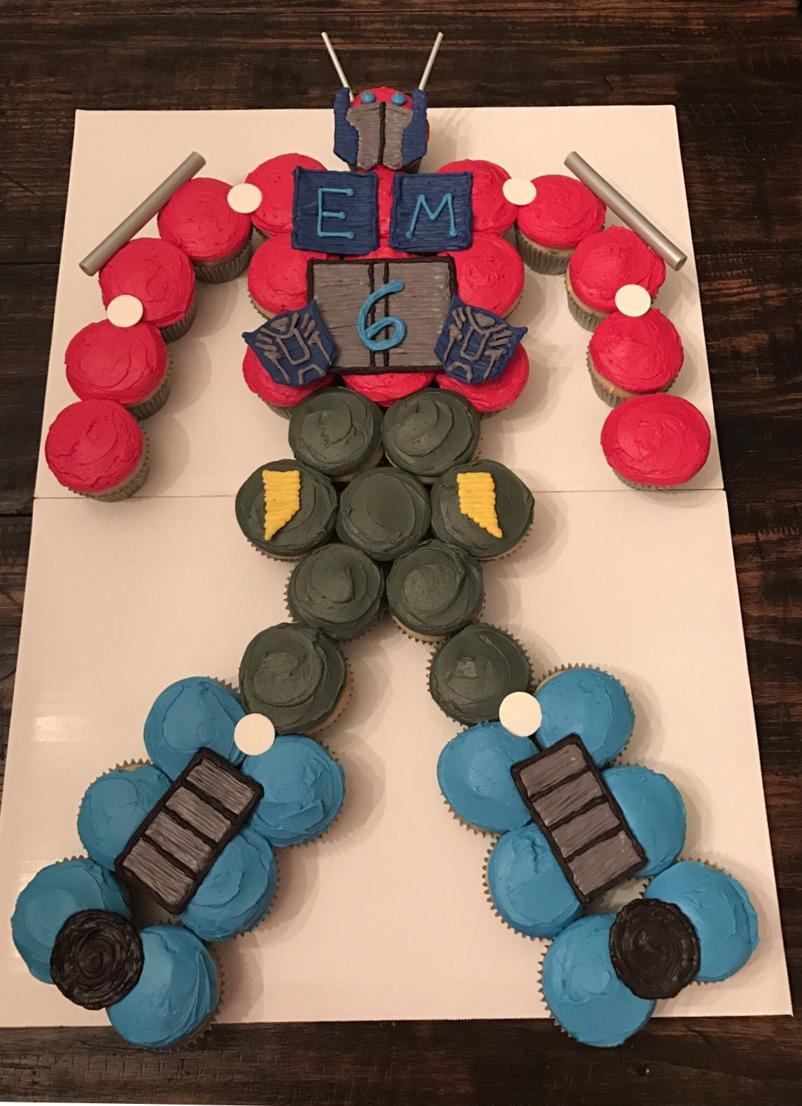 Optimus Prime cake Transformer cupcake cake birthday desserts