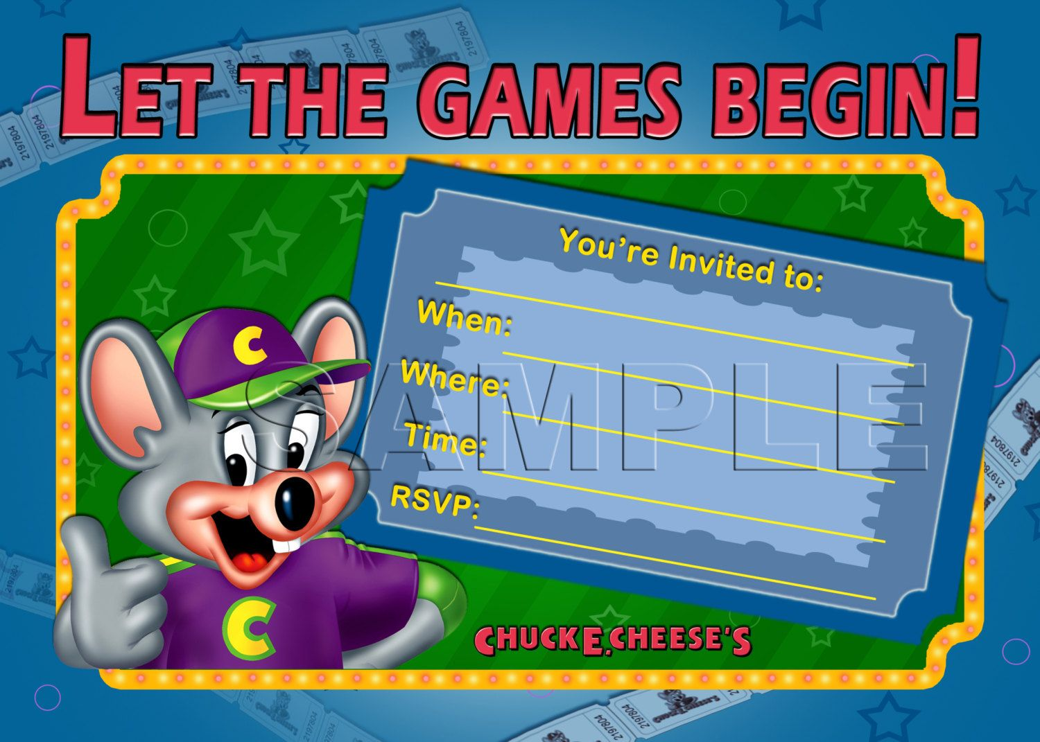 chuck e cheese's birthday invitation - instant download - chuck e, Birthday invitations