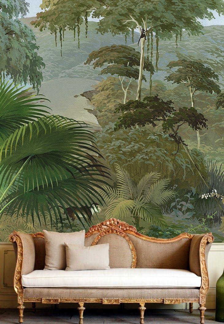 Lush mural wallpaper.