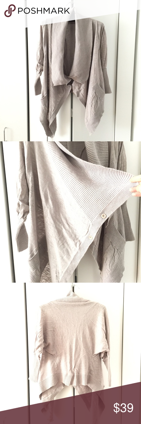 Aritzia Wilfred asymmetrical cardigan • gently used  • taupe color, 3/4 length dolman sleeves, asymmetrical draped front  • made with linen and cotton   ➡️15% off 2 or more items ➡️Sorry, no trades or holds Aritzia Sweaters Cardigans