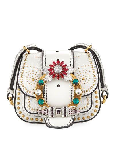 92db2f77a358 MIU MIU EMBELLISHED LADY SADDLE BAG.  miumiu  bags  shoulder bags  leather