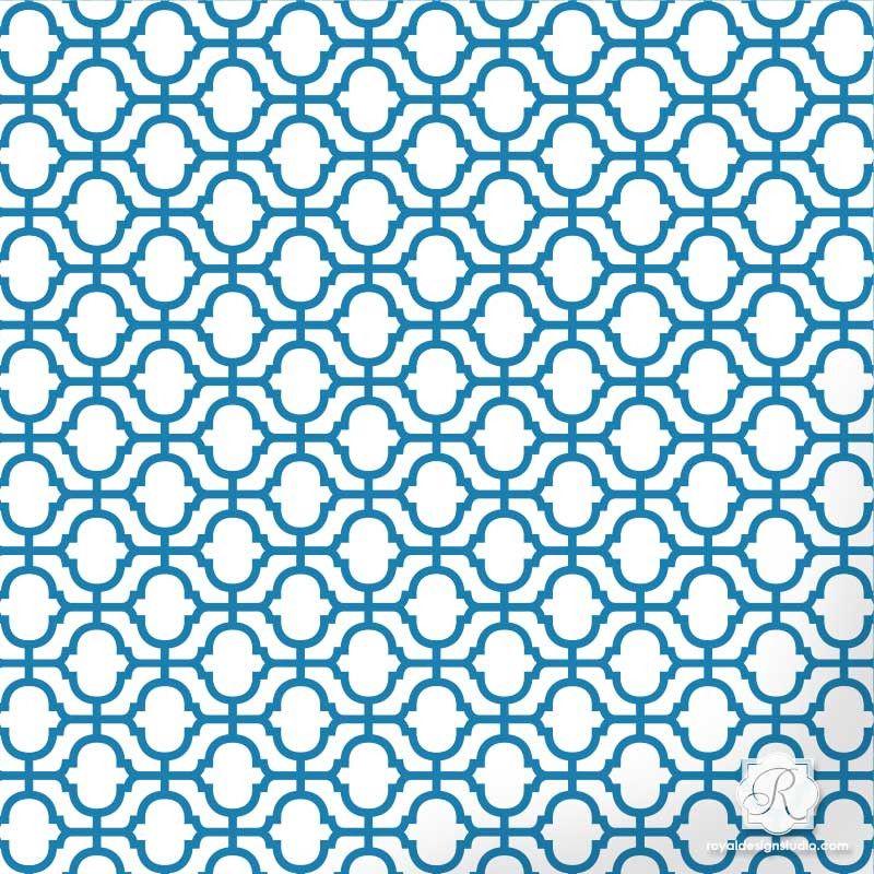 2 sheets DIY decor Wall Stencil Lattice Trellis Quatrefoil Pattern Azure set