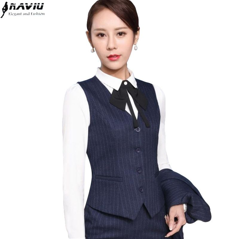 00e6953c7 2017 Spring Business formal female stripe vest skirt suits fashion slim  office ladies plus size Price: 33.96 & FREE Shipping #hashtag3