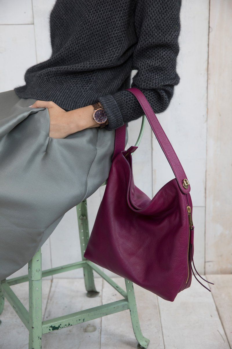 14db3d13a6ab All about the fall hue raspberry wine in our Maya hobo handbag and  Jacqueline watch.