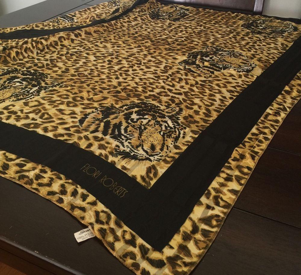 Flori Roberts Hidden Tiger Faces Golden Leopard Print Jungle Black Gold Scarf L #FloriRoberts #Scarf