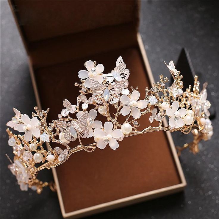White Floral Tiara and Crown Butterfly Bridal Headpiece Tiaras Noiva Women diade...