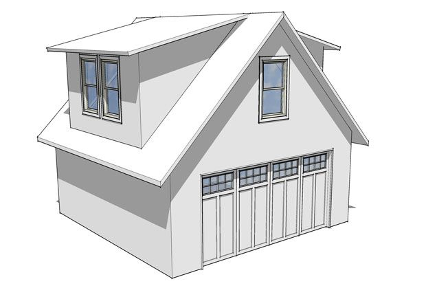 Garage with loft and shed dormer good stuff on this site for Garage dormer