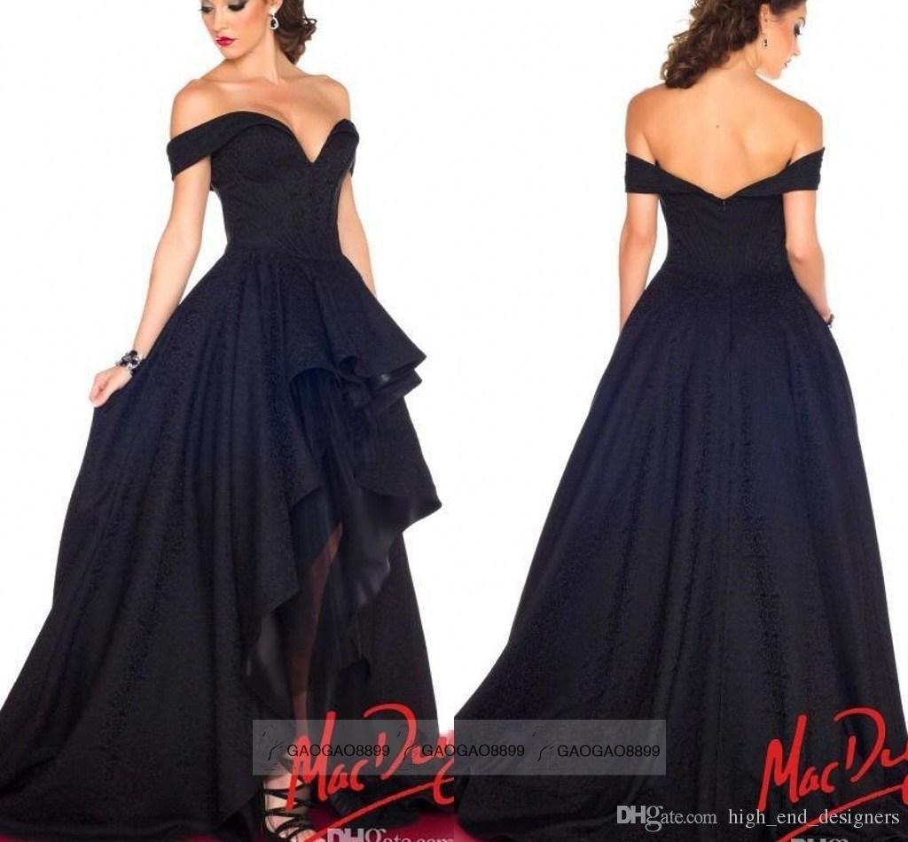 d9fe6e3295fe9 2015 Black Evening Prom Dresses Off Shoulder Navy Blue Sexy Hi Lo ...