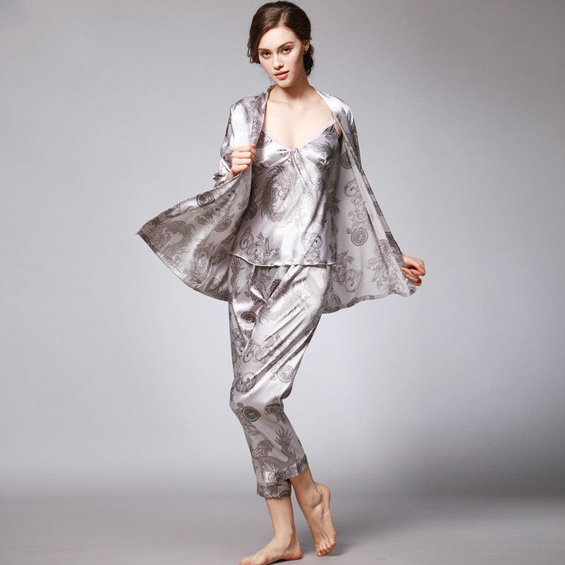 82c372f82e ... SpaRogerss 3 Pcs Robe Pajama Pants Sets 2017 New Fashion Ladies Sleep  Lounge Dragon Print Night ...